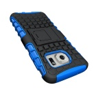 Armour Style Protective TPU Back Case w/ Stand for Samsung Galaxy S7 Edge - Blue + Black