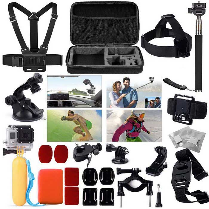 24-in-1 Accessories Kit Case Chest Strap Head Mount Monopod for GoPro