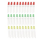 DIY 3mm LED Light-Emitting Diode Set - Rood + Geel + Groen (30PCS)