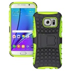 Armour Style Protective TPU Back Case w/ Stand for Samsung Galaxy S7 Edge - Yellow Green + Black