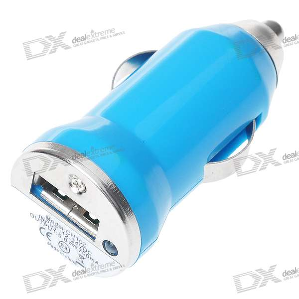 Car Cigarette Powered USB Adapter/Charger - Color Assorted (DC 12V)