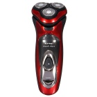 KM-5880 Men's Electric Rechargeable Washable Shaver w/ Three Shaver Heads - Red + Black