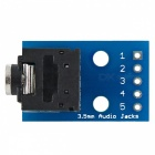 3.5mm Audio Jack to DIP Adapter Board 2-Channel Audio Breakout Board for DIY - Blue + Black