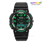 SANDA Waterproof Japanese Movement Digital Analog Watch - Black+Green