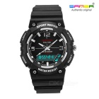 SANDA Waterproof Japanese Movement Digital Analog Watch - Black+White