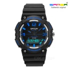SANDA Waterproof Japanese Movement Digital Analog Sports Watch - Black + Blue (1*CR2025 / 1*SR62)