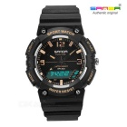 SANDA Waterproof Japanese Movement Digital Analog Watch - Black + Gold