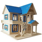 G-AH001 DIY Assembly Fantastic Cottage Model Toy - Wood Color + Blue