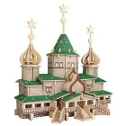 G-PH032 DIY Assembly 3D Wooden House Model lelu - Wood Color + vihreä