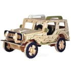 DIY Assembly 3D Wooden Jeep Model Toy - Wood Color + Black