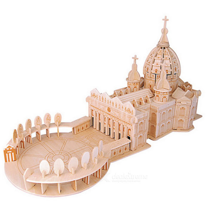 G-P240 DIY Assembly 3D Saint Peter's Basilica Model Toy - Wood Color