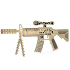 DIY Assembly 3D Wooden Carbine Model Toy - Wood Color + Black