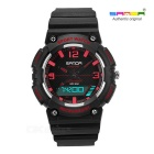 SANDA Waterproof Japanese Movement Digital Analog Watch - Black + Red