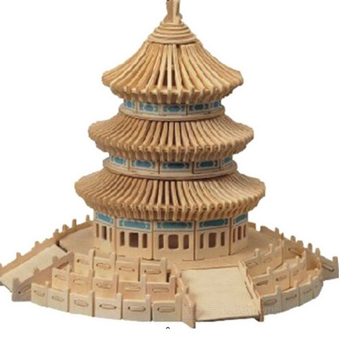 DIY Assembly 3D Wooden Temple of Heaven Model Toy - Cor de madeira + Preto