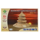DIY Assembly 3D Wooden Temple of Heaven Model Toy - Wood Color + Black