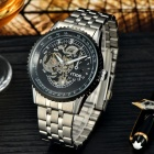MCE Man's Business Steel Wristband Mechanical Watch - Black + Silver