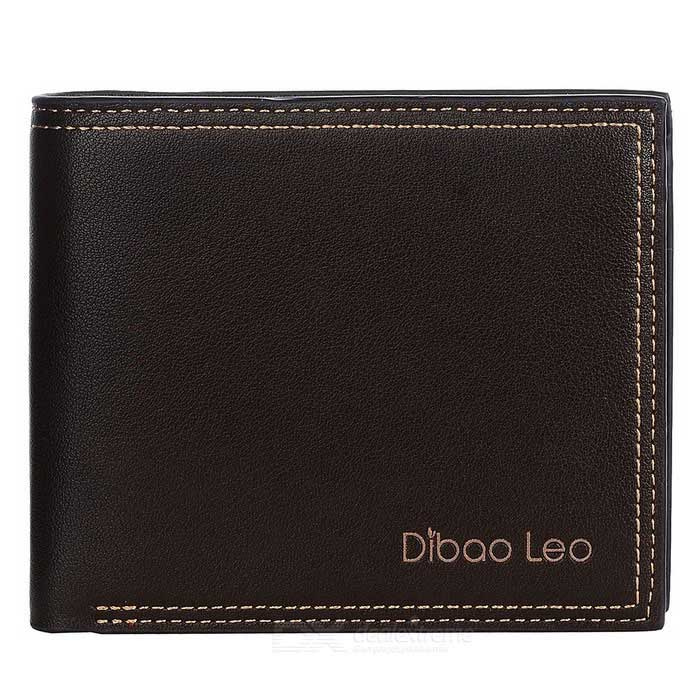 DBLO Men's Short PU Leather Wallet Purse - Coffee