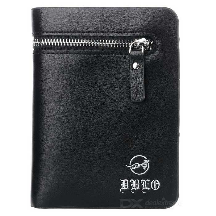 DBLO Menns PU Lær Wallet Purse W / Zippered Lomme - Svart