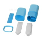 Portable Traveling Tooth Mug + Shampoo Bottle + Shower Gel Bottle + Mirror + Comb Set - Blue