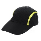 Qingfang Outdoor Anti-UV Quick-Dry Peaked Baseball Cap Hat w/ Lengthened Brim - Black + Green