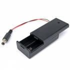 2*AA Battery Holder Case w/ DC Jack for Arduino - Black + Red