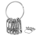 Outdoor Quick Release Ring + D1 Carabiner Keychains Set - Silver