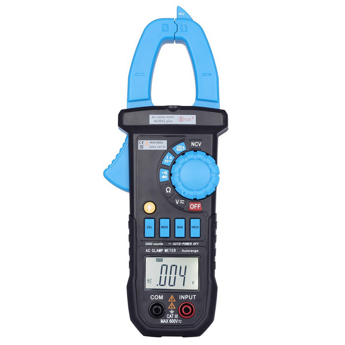 BSIDE ACM01 Plus Non-contact AC Current Tester w/ Clamp - Black + BlueMultimeters<br>Form  ColorBlack + BlueModelACM01 plusQuantity1 DX.PCM.Model.AttributeModel.UnitMaterialIron + copper + ABSScreen Size1.6 DX.PCM.Model.AttributeModel.UnitMax. Display1999DC Voltage200mV/2V/20V/200V/600V±0.7%AC Voltage200mV/2V/20V/200V/600V±0.8%AC Current2A/20A/200A/600A±2.0%Resistance200/2k/20k/200k/2M/20M±1.2%Transistor TestNoTemperature TestNoFrequency TestNoPower Consumption TestNoShort-Circuit ProtectionYesShort Curcuit BuzzYesAuto Power OffYesPowered ByAAA BatteryBattery Number3Battery included or notYesCertificationCEPacking List1 x Clamp meter1 x Test probe (80cm)1 x English manual3 x AAA batteries1 x Cloth cover1 x Box<br>