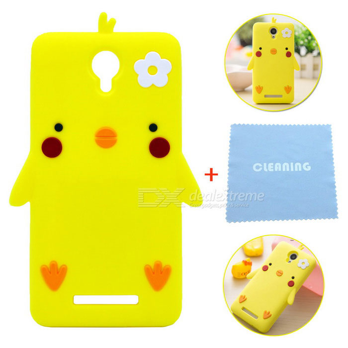 Cartoon Pattern Protective Silicone Case for Redmi Note 2 - Yellow