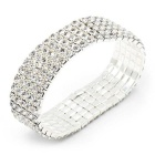 Women's Elastic Silver Plated Alloy Rhinestones Bracelet Bangle - Silver