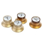 2 Volume & 2 Tone Speed Knobs for Guitar - Golden Brown + Silver