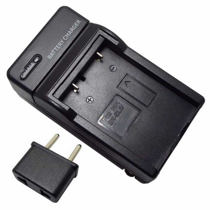 EU Plug Adapter + US Plug Camera Batterilader for EN-EL5-Svart