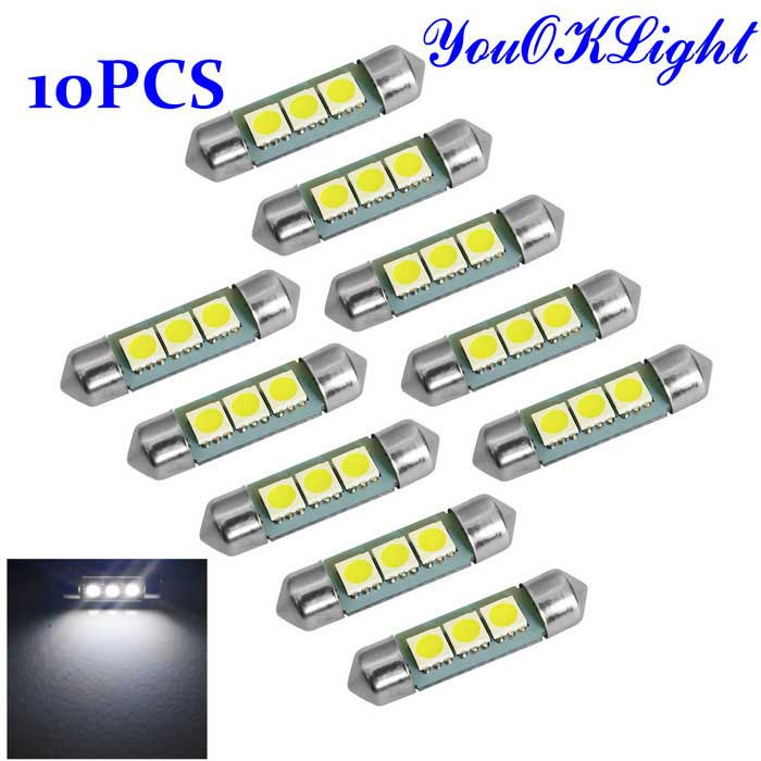 YouOKLight Festoon 36mm 1W LED Car Lamps - Silver + Yellow (12V/10PCS)Festoon<br>Color BINWhiteModelYK1500Quantity10 DX.PCM.Model.AttributeModel.UnitMaterialAluminumForm ColorSilver + YellowEmitter Type5050 SMD LEDChip BrandOthers,-Chip TypeLEDTotal Emitters3Power1WColor Temperature6000 DX.PCM.Model.AttributeModel.UnitTheoretical Lumens100 DX.PCM.Model.AttributeModel.UnitActual Lumens60 DX.PCM.Model.AttributeModel.UnitRate VoltageDC12VWaterproof FunctionNoConnector TypeFestoon 36mmApplicationClearance lamp,Indicator lamp,Roof lightPacking List10 x Car lights<br>