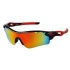 Outdoor Sport Polarized Red REVO Lens Sunglasses Goggles - Black + Red