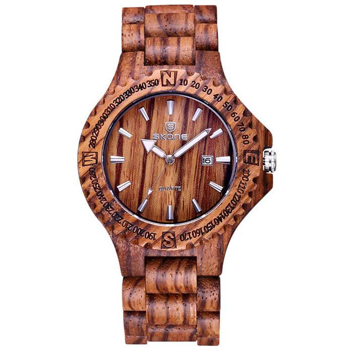 SKONE Men's Sandalwood Analog Quartz Watch - Coffee (1*s377)