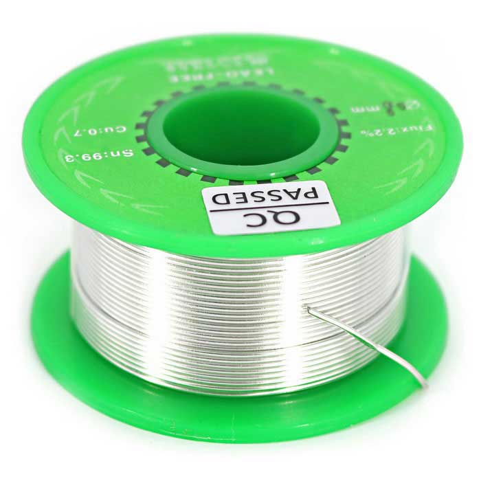 0.8mm Lead-free Solder Tin Wire Sn99.3 / Cn0.7 - Silver (40g)Soldering Supplies<br>Form  ColorSilverPowerOthersModelN/AQuantity1 DX.PCM.Model.AttributeModel.UnitMaterialTinPower AdapterOthersMax Temperature400 DX.PCM.Model.AttributeModel.UnitTemperature ControlNo DX.PCM.Model.AttributeModel.UnitPacking List1 x Reel solder wire<br>