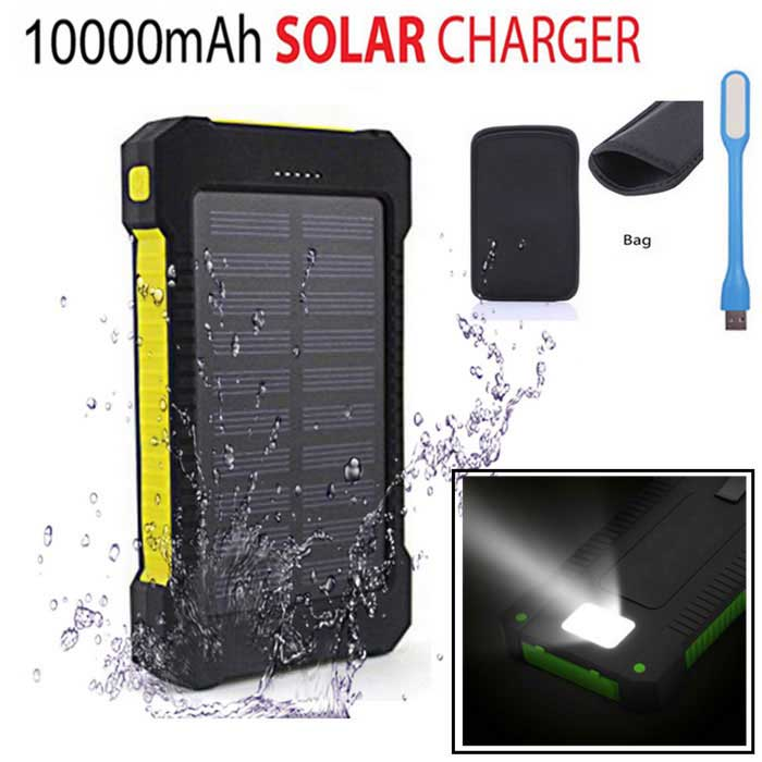 """10000mAh"" 2-USB Solar Power Bank + LED + Bag - Yellow + Black"
