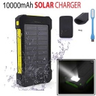 "FLUS ""10000mAh"" 2-USB Solar Power Bank + LED + Bag - Yellow + Black"