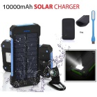 "FLUS ""10000mAh"" 2-USB Solar Power Bank + LED + Bag - Blue + Black"