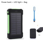 "FLUS ""10000mAh"" 2-USB Solar Power Bank + LED + Bag - Green + Black"