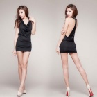 V-Neck Halter Sexy Lingerie Nightclub Sequined Dress - Black