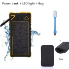 "SUNGZU 2-USB ""8000mAh"" Solar Power Bank + LED + Bag - Black + Yellow"