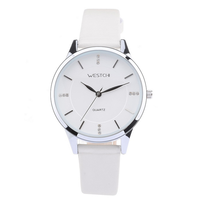 WESTCHI W3112LWE-4 Women's Waterproof Quartz Watch - White + Silver