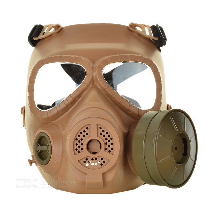 Protective Plastic Anti-fog Gas Mask w/ Fan - Mud Color