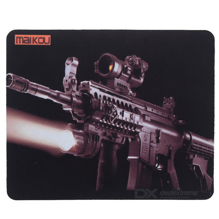 MAIKOU 180*220mm Gun Pattern Mouse Pad Mat - Brown + BlackMouse Pads<br>Form  ColorBrown + BlackQuantity1 DX.PCM.Model.AttributeModel.UnitShade Of ColorBrownMaterialNylonPacking List1 x Mouse pad<br>