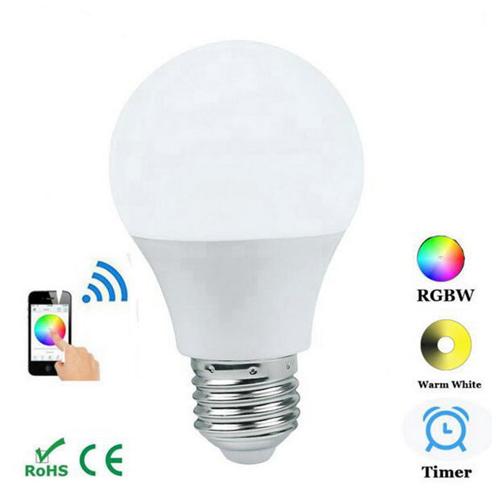 JIAWEN E27 4.5W Bluetooth APP Controlled Bulb - White (AC 100~240V)Smart Lighting<br>Form  ColorWhiteColor BINMulti-colorMaterialPlasticQuantity1 DX.PCM.Model.AttributeModel.UnitPowerOthers,4.5WRated VoltageAC 100-240 DX.PCM.Model.AttributeModel.UnitConnector TypeE27Emitter TypeCOBTotal Emitters1Theoretical Lumens350~400 DX.PCM.Model.AttributeModel.UnitActual Lumens350 DX.PCM.Model.AttributeModel.UnitColor Temperature12000K,Others,-DimmableNoOther Features16 million colors, you can choose the color you like<br>Timing function<br>Remote control<br>Custom mode<br>Music modePacking List1 x Bulb<br>
