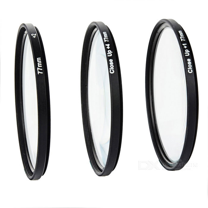 +1 / +2 / +4 Macro Close Up Filter Set for 77mm Camera Lenses - Black