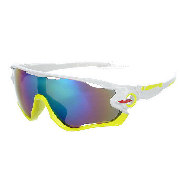 Cycling UV400 Protection Green REVO Lens Sunglasses Goggles - White