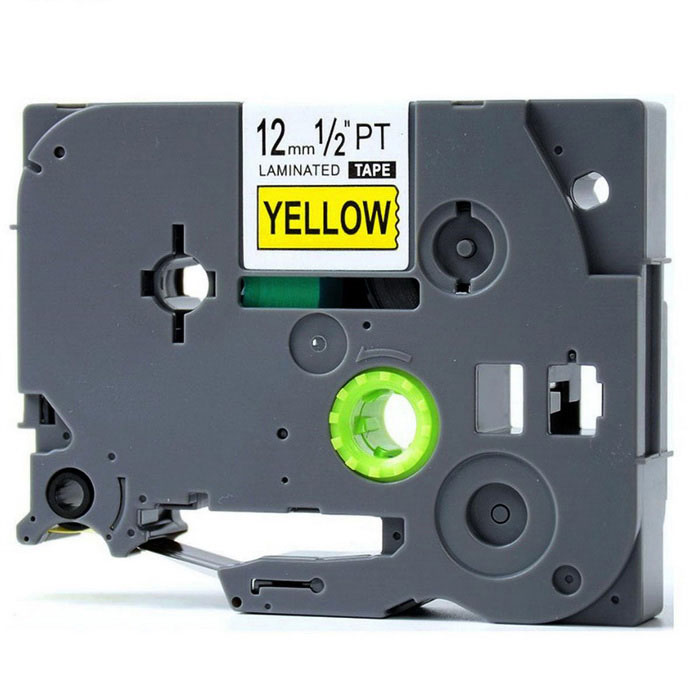 Black on Yellow Label Tape P-Touch 12mm 8M Label Maker - Dark Grey ...