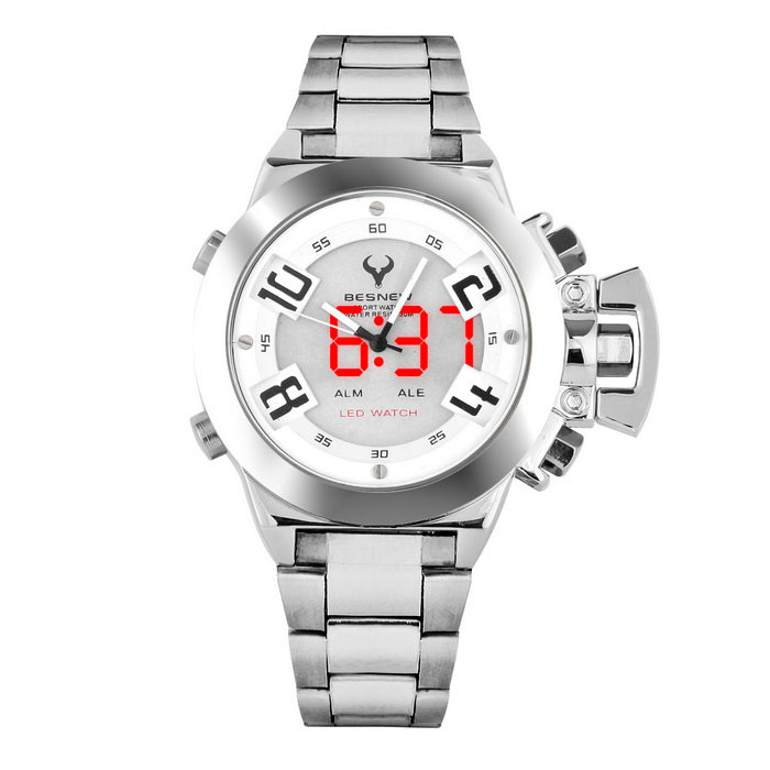 BESNEW BN-1532 Menns LED Analog Digital Quartz Watch-Sølv + Svart