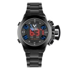 BESNEW BN-1532 Men's Stainless Steel Strap LED Analog Digital Waterproof Watch - Black + Blue
